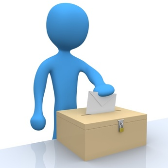 3d character putting a vote into a ballot.